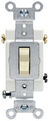 Leviton  20 amps Three Pole  Toggle  AC Quiet Switch  Light Almond  1 pk
