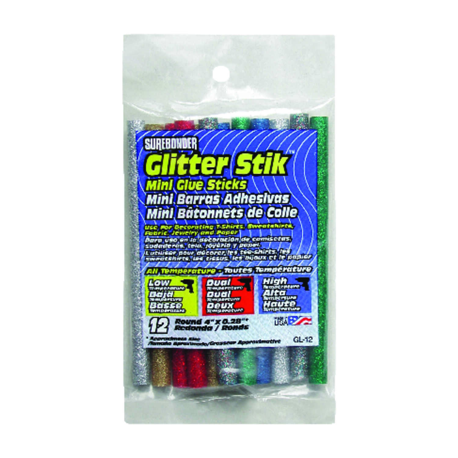 Surebonder  0.3 in. Dia. x 4 in. L Glitter Glue Sticks  Assorted Colors  12 pk
