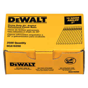 DeWalt  20 deg. 16 Ga. Smooth Shank  Angled Strip  Finish Nails  2 in. L 2,500 box