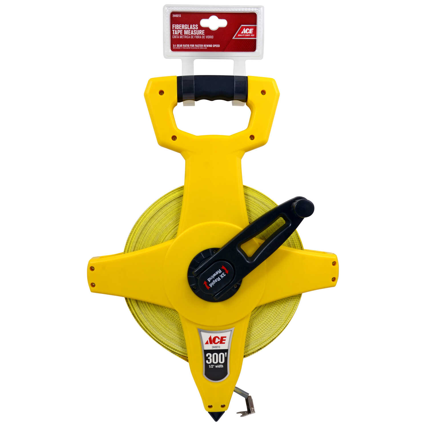 Ace  300 ft. L x 0.5 in. W Fiberglass Long Tape Measure  10 pk Yellow