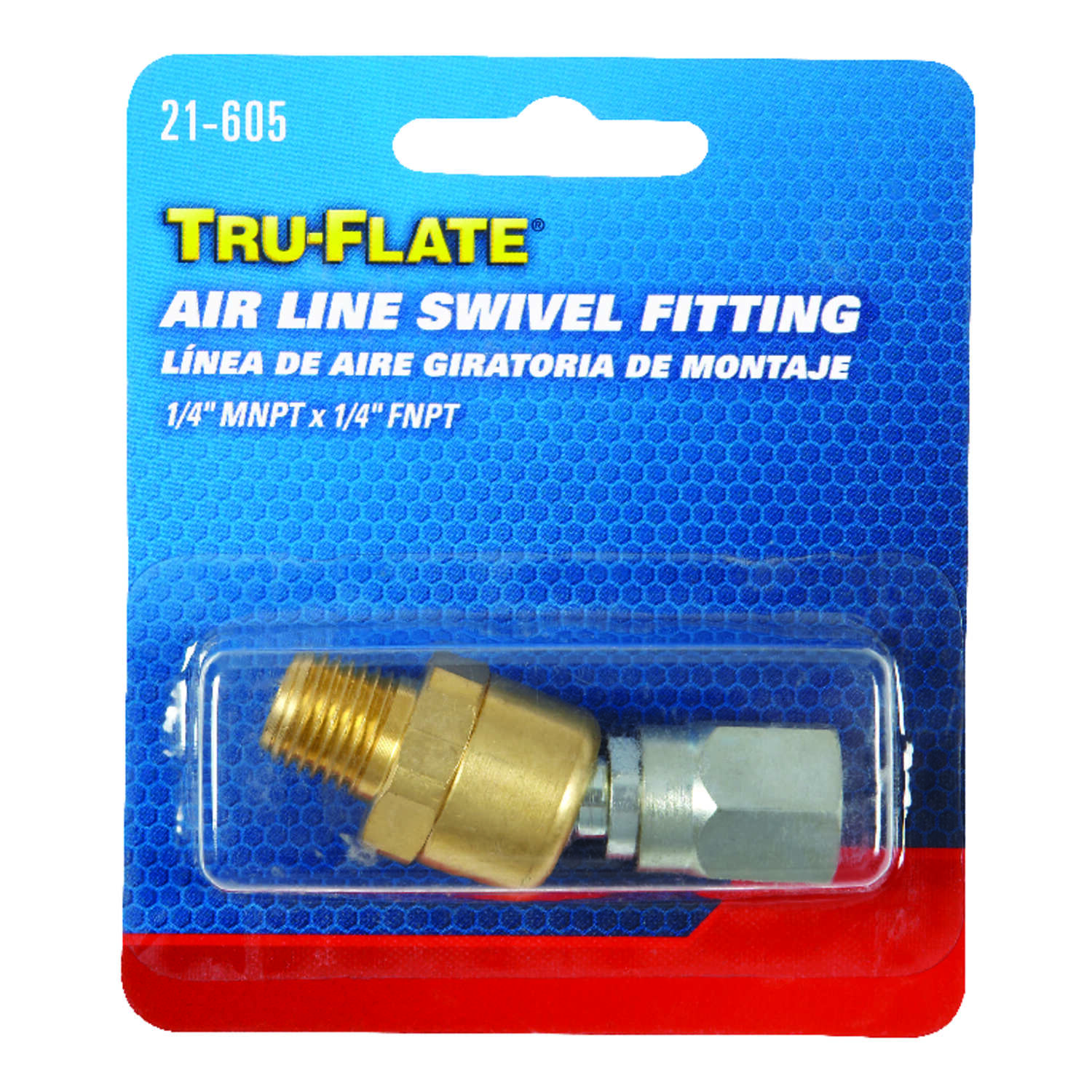 Tru-Flate  Brass/Steel  Air Line Swivel  1/4 in. Female  NPT  2 pc.