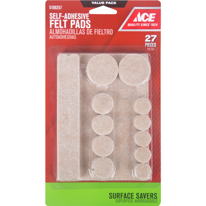Ace  Felt  Self Adhesive Pad  Round  Brown  6 in. L 27 pk Self Adhesive