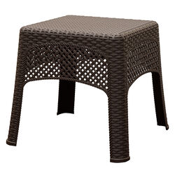 Adams  Square  Brown  Polyresin  Woven  Side Table