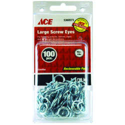 Ace  5/64 in. Dia. x 1-1/16 in. L Zinc-Plated  Steel  Screw Eye  8 lb. capacity 100 pk