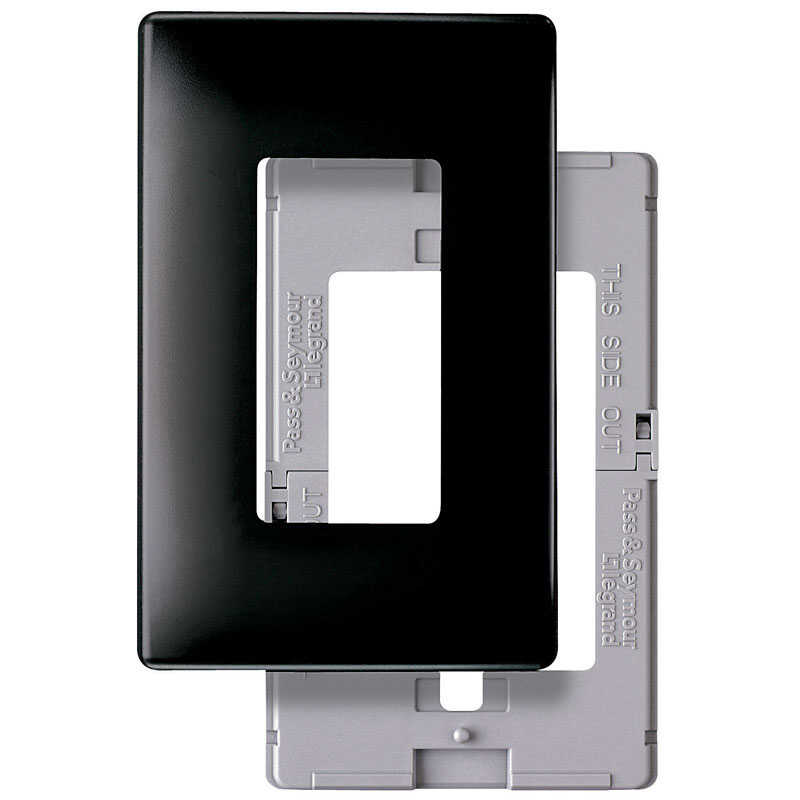 Pass & Seymour  Radiant  Black  1 gang Plastic  GFCI/Rocker  Wall Plate  1 pk