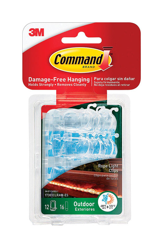 3M  Command  Small  Plastic  1 in. L 12 pk Clip