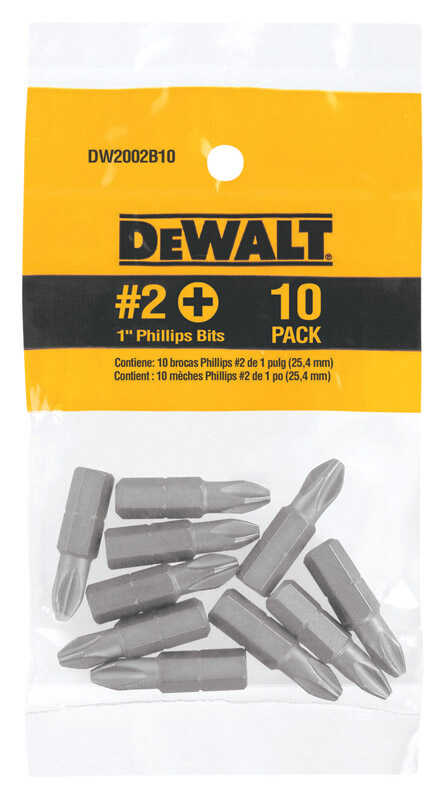 DeWalt  Phillips  #2 in.  x 1 in. L Screwdriver Bit  Heat-Treated Steel  1/4 in. 10 pc.