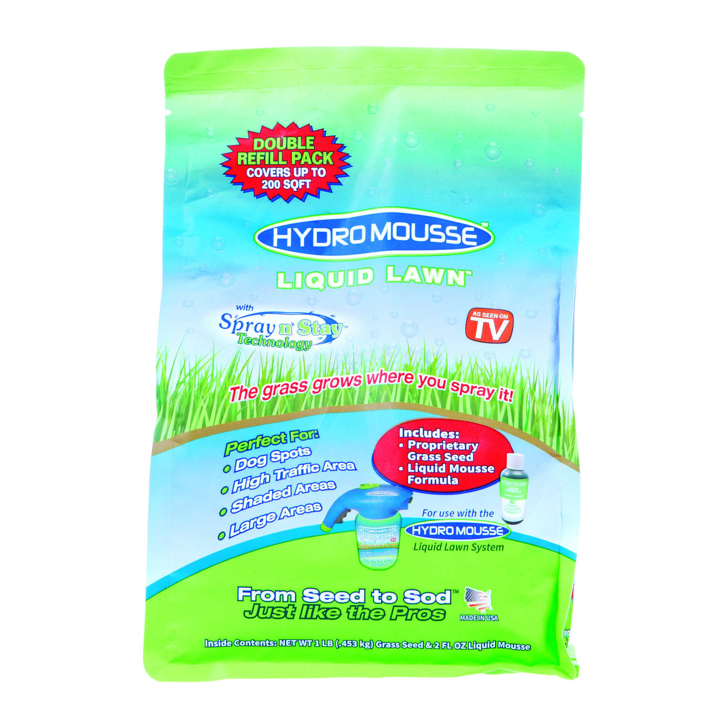 Hydro Mousse Liquid Lawn  As Seen on TV  Fescue Blend  Full Sun  Grass Seed  1 lb.