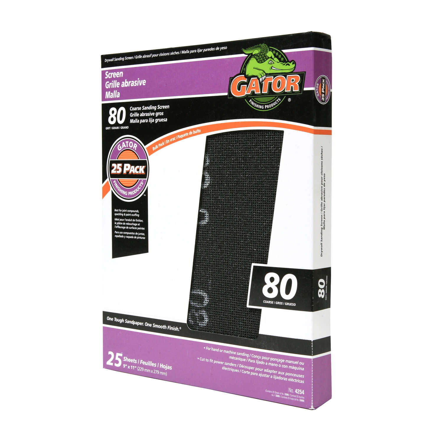 Gator  11 in. L x 9 in. W 80 Grit Silicon Carbide  Drywall Sanding Screen  1 pk
