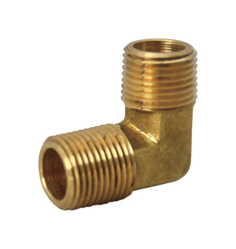 JMF  1/2 in. Dia. x 3/8 in. Dia. MPT To MPT To Compression  Yellow Brass  Elbow