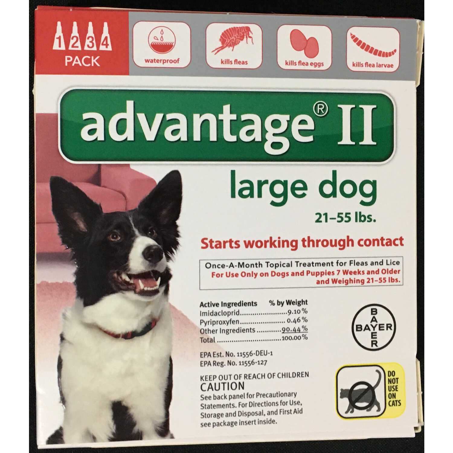 Bayer  Advantage II  Liquid  Flea Drops  Dog  4 pk