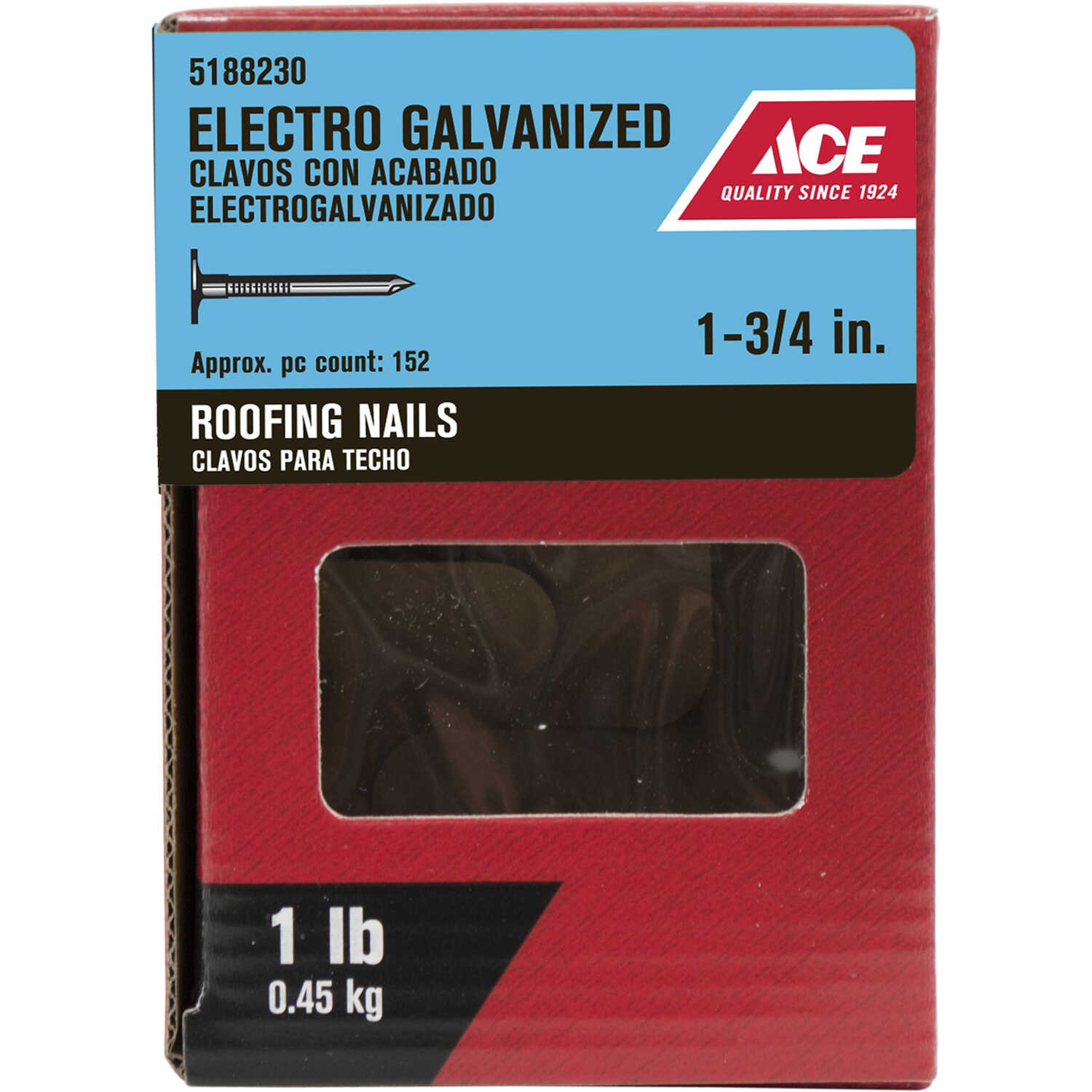 Ace  1-3/4 in. L Roofing  Steel  Nail  Large Head Smooth Shank  1 pk 1 lb.