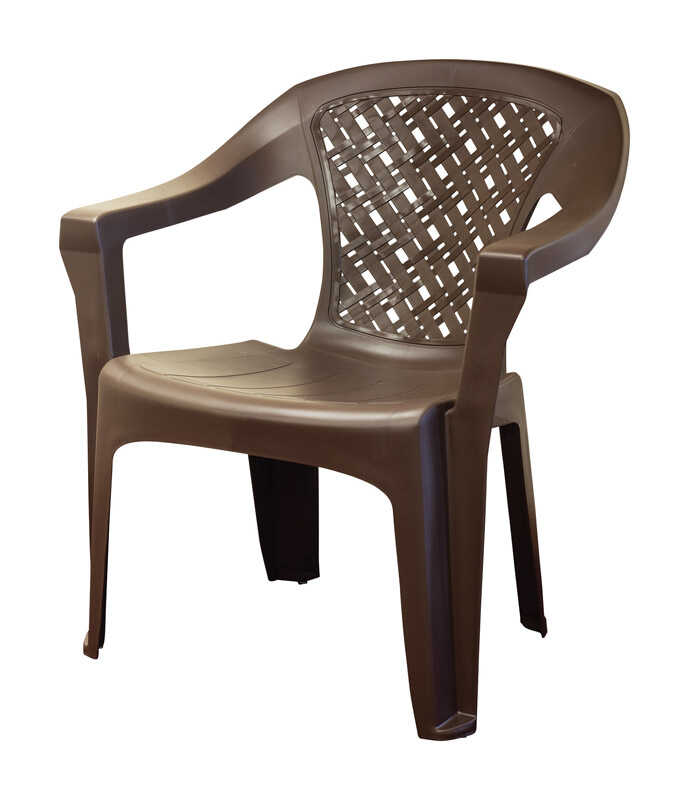 Adams  Big Easy  Earth Brown  Polypropylene  Stackable  Woven Chair