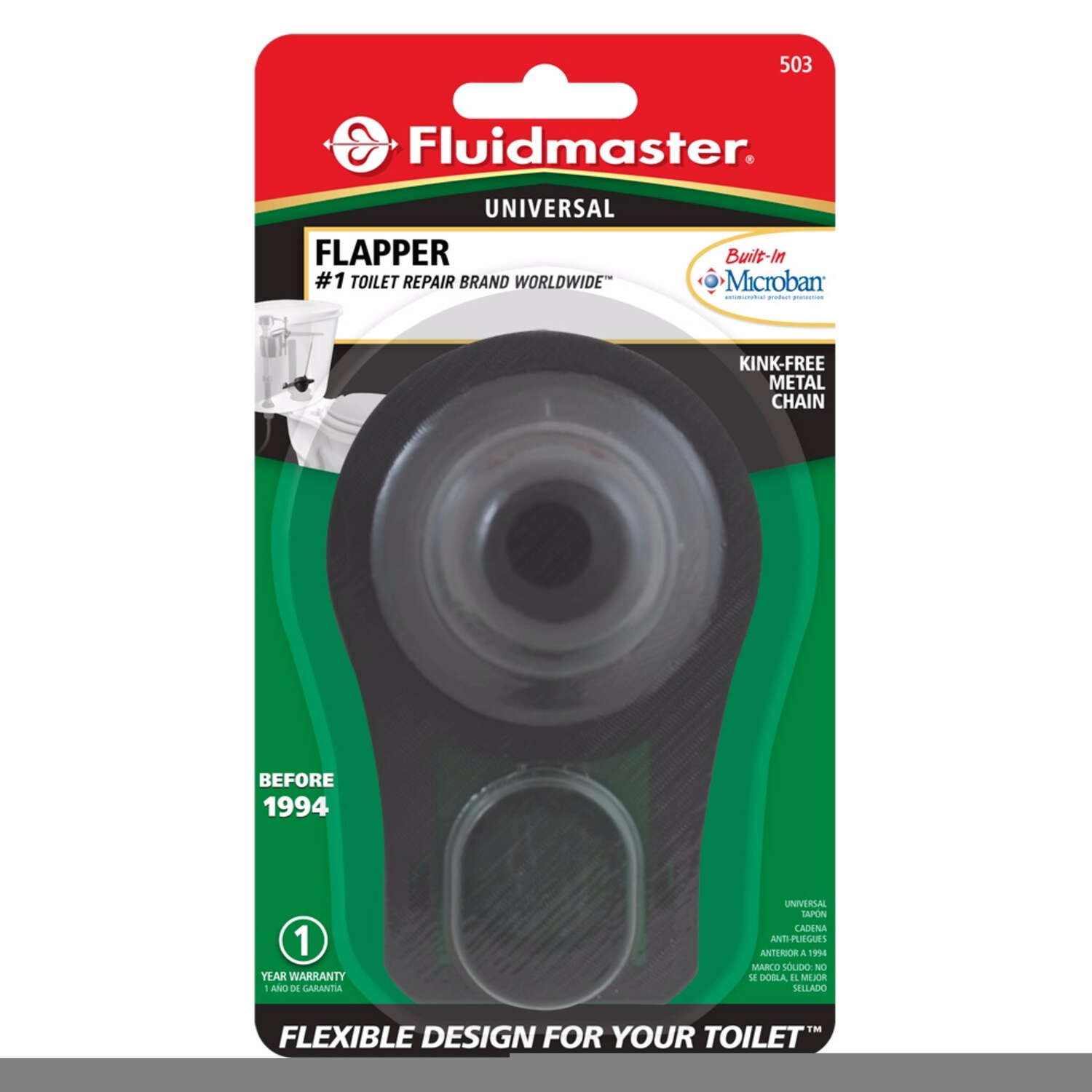 Fluidmaster  Sure-Fit  Flapper  6-1/8 in. H x 2 in. L Vinyl