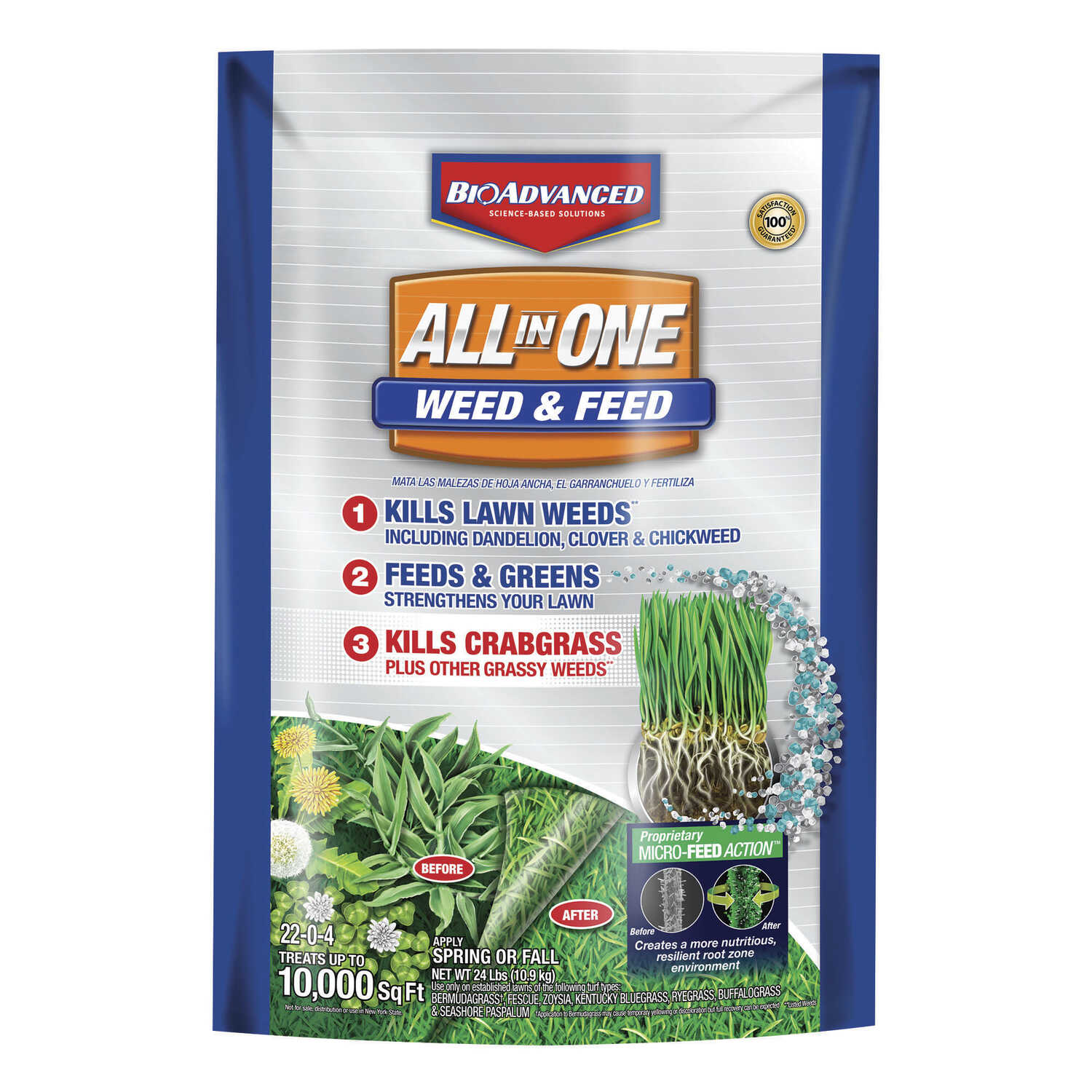 BioAdvanced  22-0-4 slow-release fertilizer  Weed and Feed  For Mixed 24 lb.