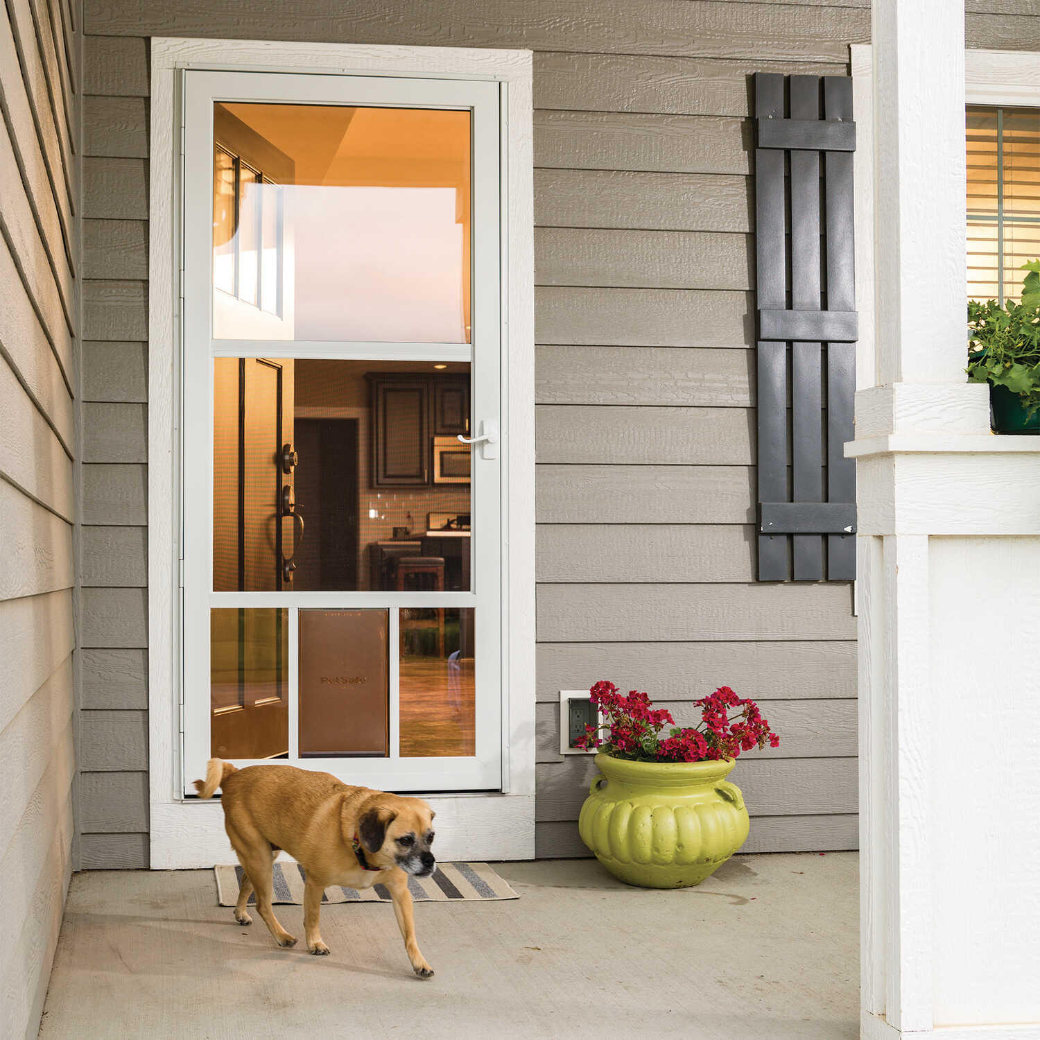 LARSON  81 in. H x 32 in. W Aluminum  White  Full-View  Reversible  Pet Storm Door