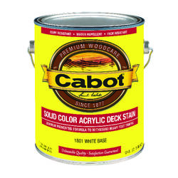 Cabot  Solid  Tintable 1801 White Base  Water-Based  Acrylic  Deck Stain  1 gal.