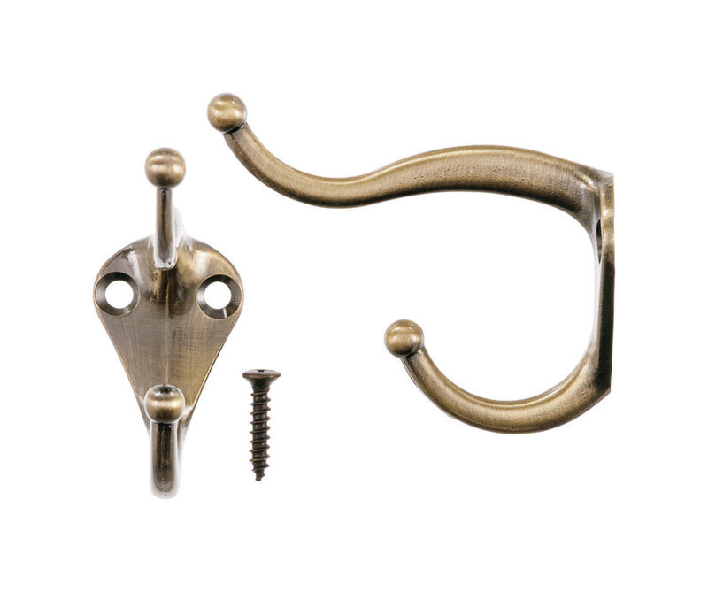 Ace  3 in. L Antique Brass  Gold  Brass  Coat and Hat  Hook  2 pk Small