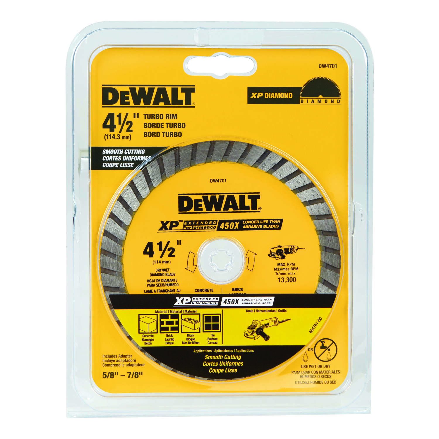 DeWalt  0.06 in.  Diamond  4-1/2 in.  Masonry Blade  1 pk XP Extended Performance  7/8 in.