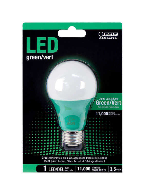 FEIT Electric  3.5 watts A19  LED Bulb  450 lumens Green  A-Line  30 Watt Equivalence