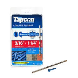 Tapcon 3/16 in. Dia. x 1-1/4 in. L Steel Hex Head Concrete Screw Anchor 75 pk