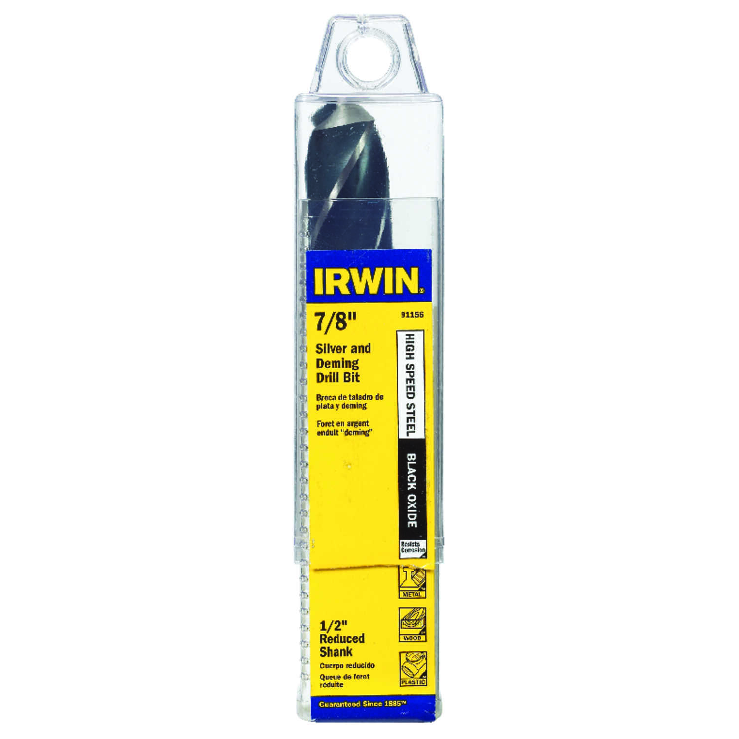 Irwin  7/8 in. Dia. x 6  L High Speed Steel  Drill Bit  1/2 in. Straight Shank  1 pc.