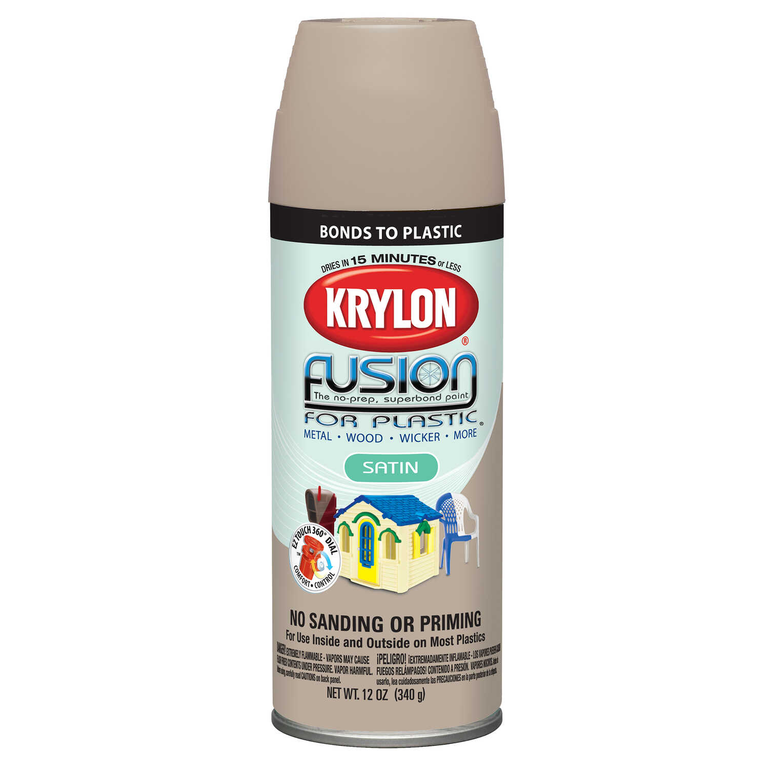 Krylon  Satin  Fusion Spray Paint  Almond  12 oz.