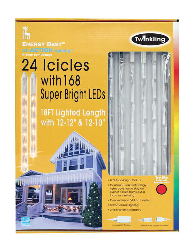 Energy Best  LED  Icicle Light Set  White  168