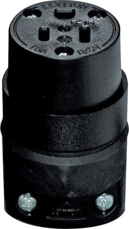 Leviton  Commercial and Residential  Rubber  Grounding  Connector  5-15R  18-12 AWG 2 Pole 3 Wire
