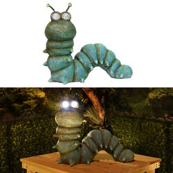 Alpine Polyresin Green 16 in. H Caterpillar Solar Statue