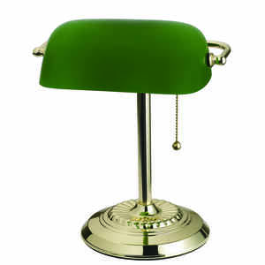 Living Accents  13.5 in. Bright  Green  Bankers Lamp