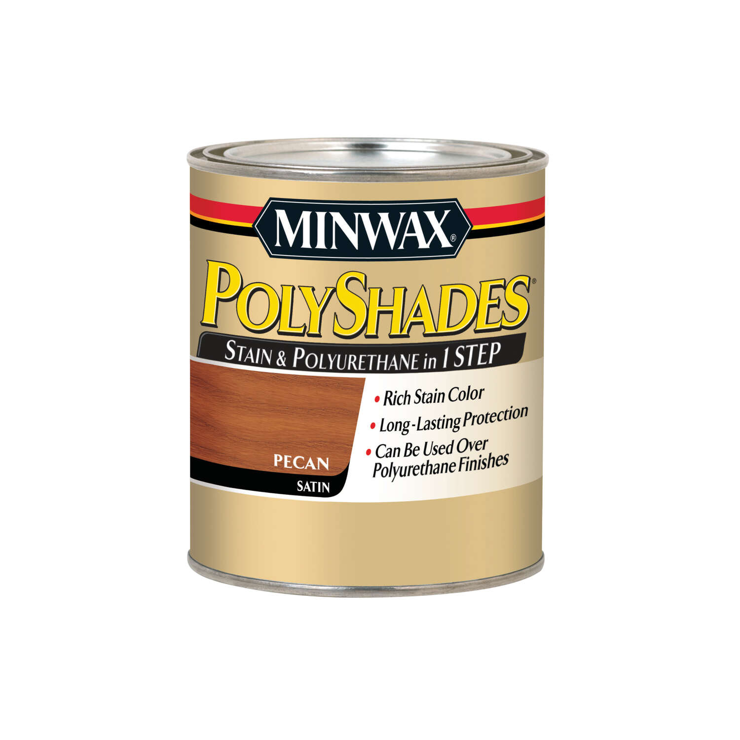 Minwax  PolyShades  Semi-Transparent  Satin  Pecan  Oil-Based  Stain  1 qt.