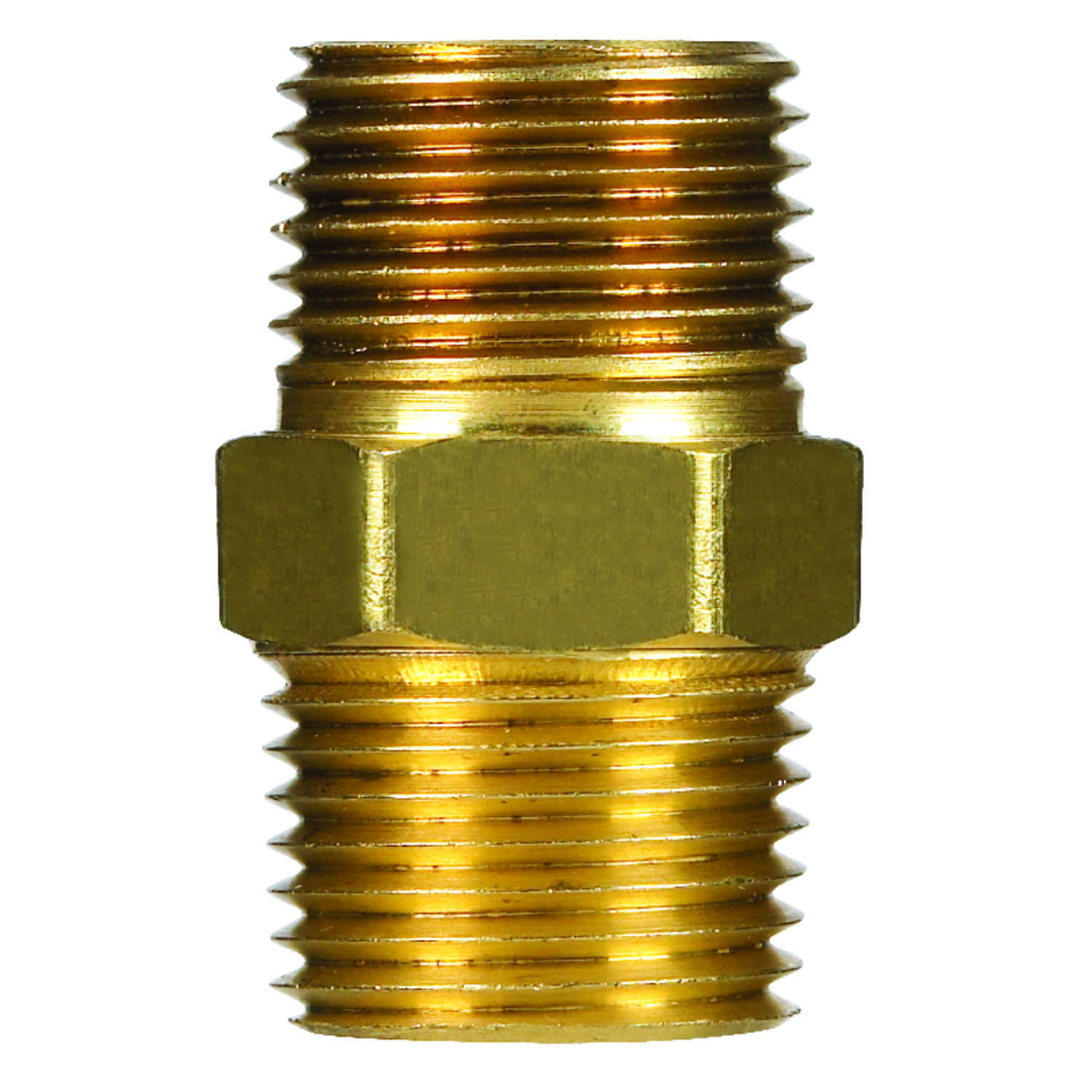 JMF  1/8 in. MPT   Yellow Brass  Hex Nipple
