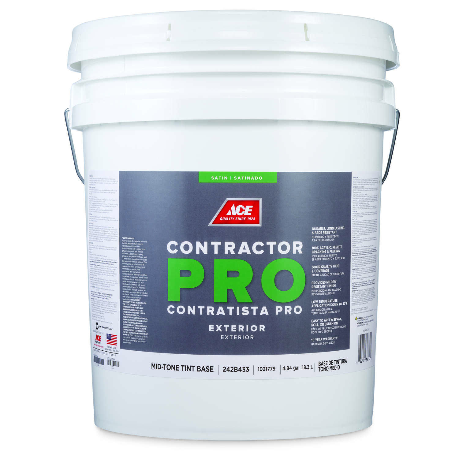 Ace  Contractor Pro  Satin  Tint Base  Mid-Tone Base  Acrylic Latex  Paint  Outdoor  5 gal.