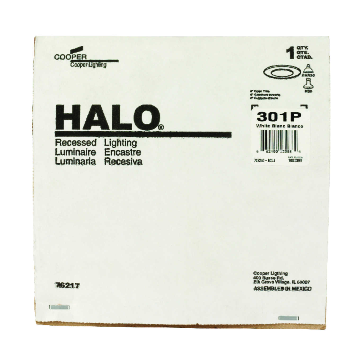 Halo  Matte  6 in. W Metal  Recessed Light Trim  White  Incandescent