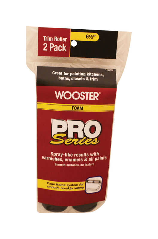Wooster  Pro Series  Foam  6-1/2 in. W Trim  Paint Roller Cover  For Semi-Rough Surfaces 2 pk