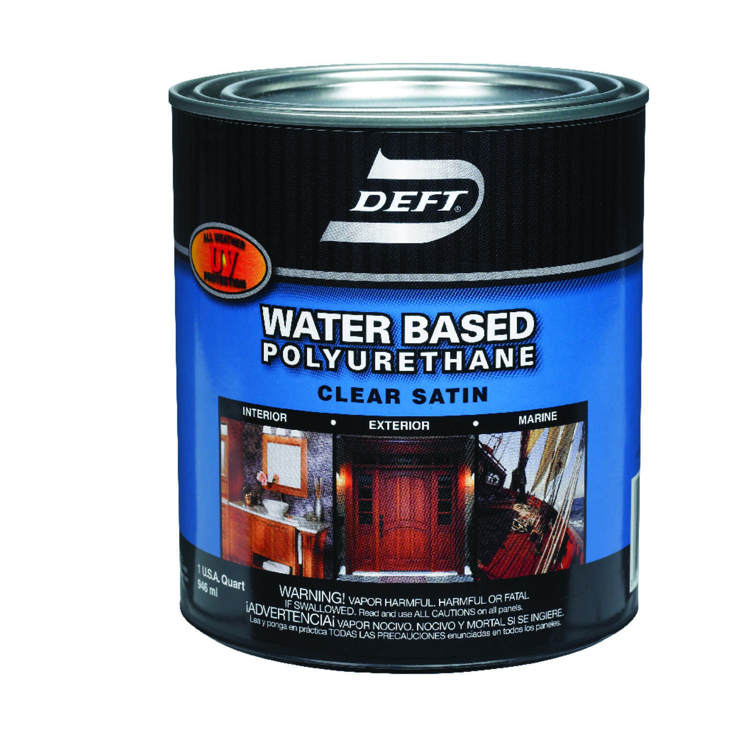 Deft  Water Based Polyurethane  Satin  Clear  Waterborne Wood Finish  1 qt.