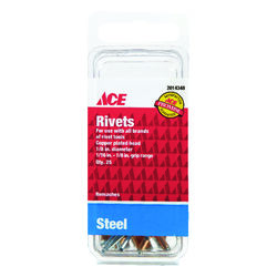 Ace  1/8 in. Dia. x 1/8 in.  Steel  Rivets  Silver  25 pk