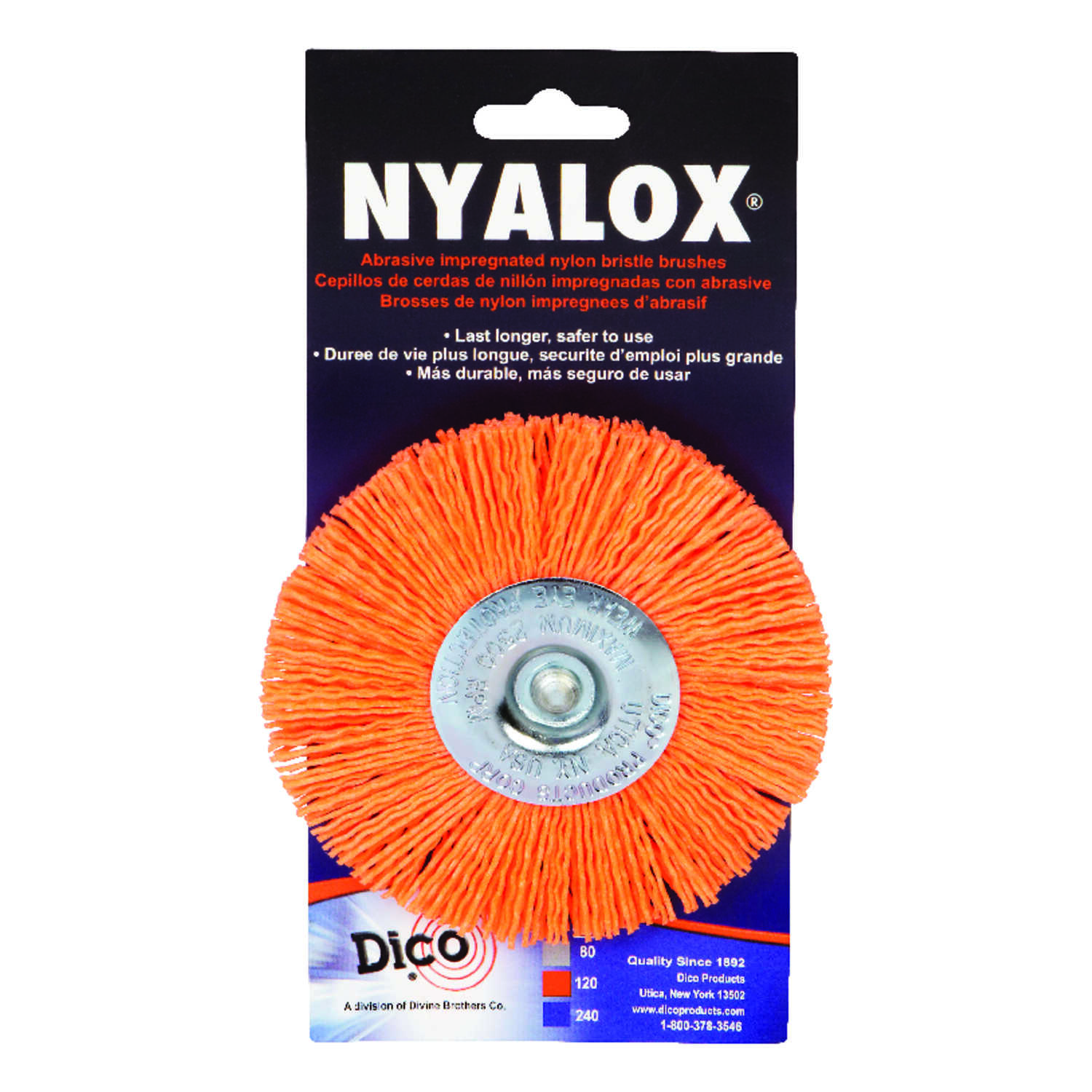 DICO NYALOX  4 in. 1/4  Wheel Brush  Nylon  2500 rpm 1 pc. Twisted