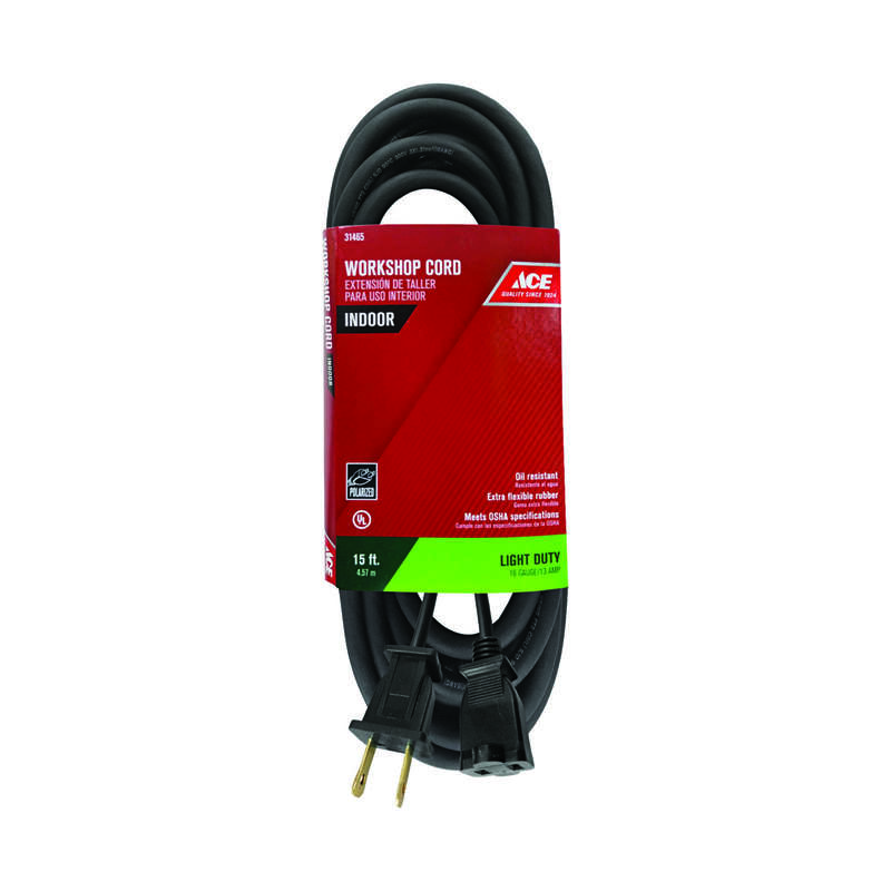 Ace Indoor 15 ft. L Black Extension Cord 16/2 SJO