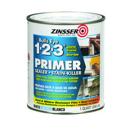 Zinsser Bulls-Eye 1-2-3 White Water-Based Styrenated Acrylic Primer and Sealer 1 qt.
