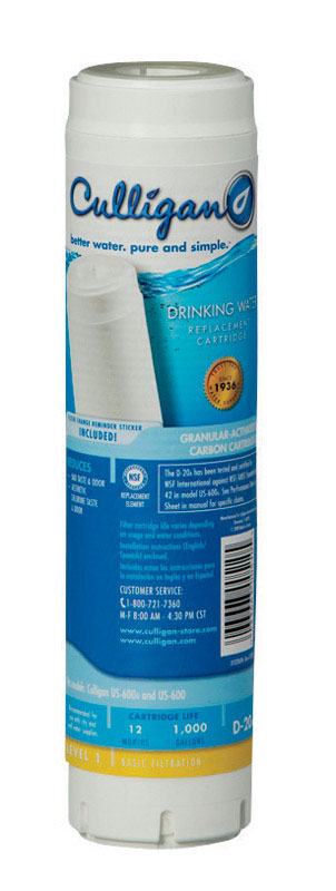 Culligan  Level 1 Drinking Water  Drinking Water Replacement Filter  For Under Sink 1000 gal.