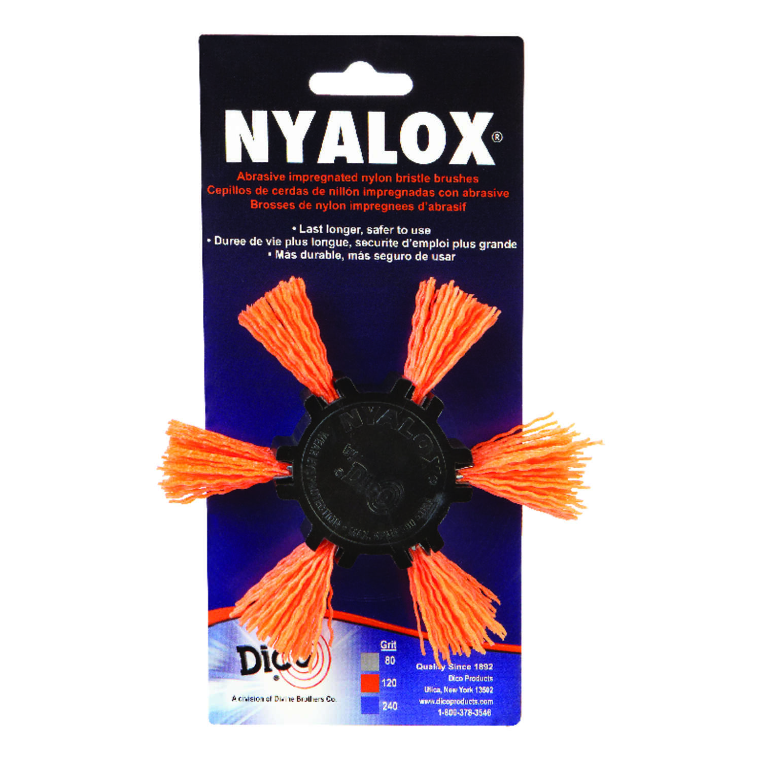 Dico  NYALOX  4 in. Dia. x 1/4 in.  Aluminum Oxide  Mandrel Mounted Flap Brush  120 Grit Medium  250