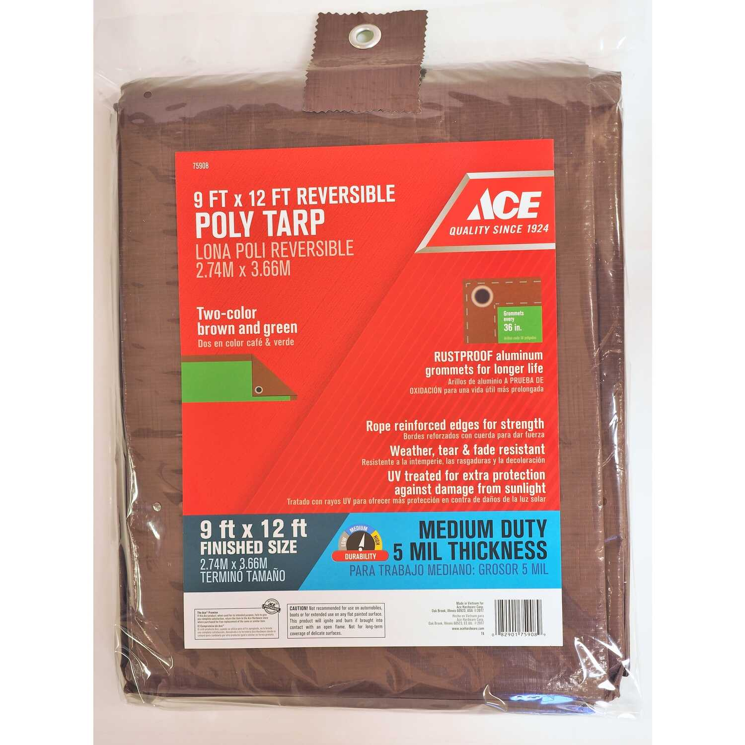 Ace  9 ft. W x 12 ft. L Medium Duty  Polyethylene  Tarp  Brown/Green