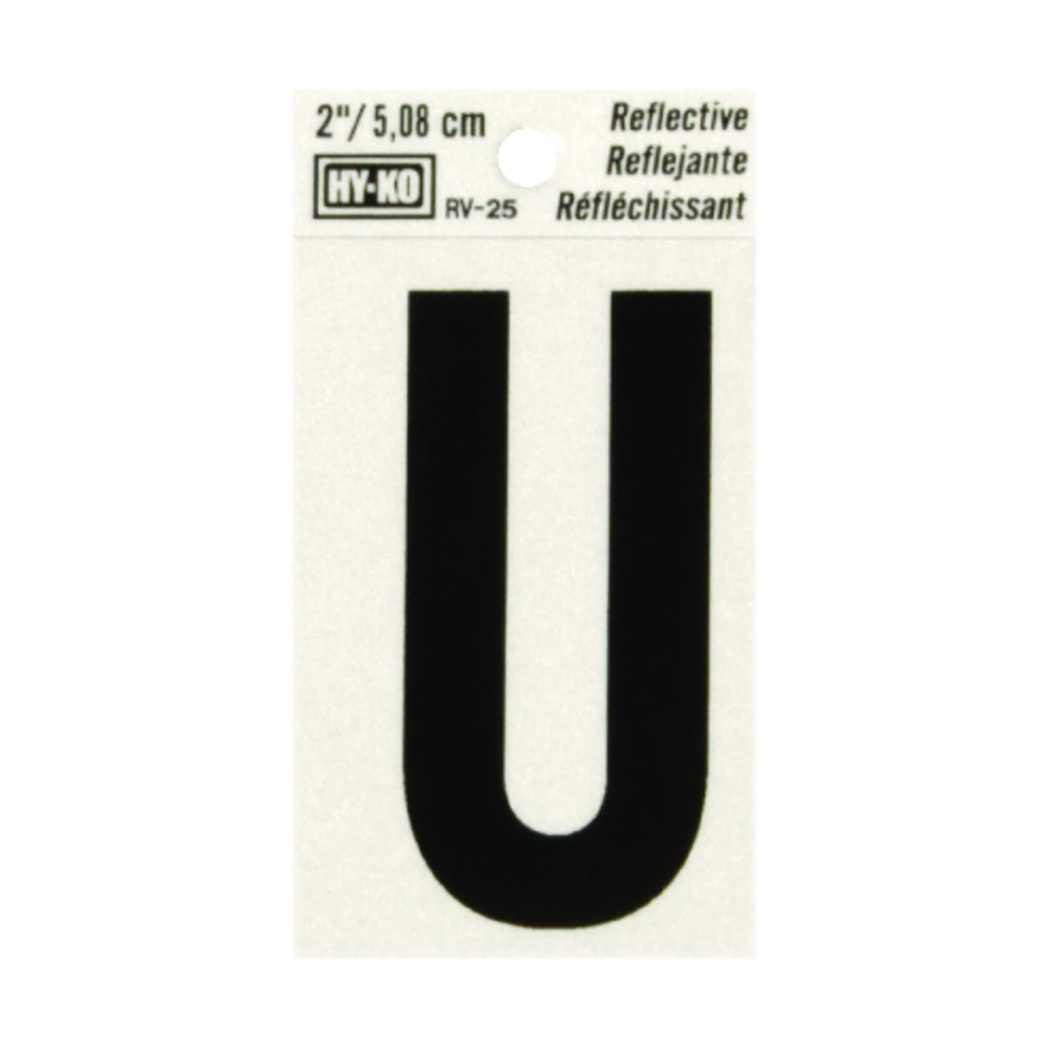 Hy-Ko  2 in. Reflective Black  Vinyl  Self-Adhesive  U  Letter