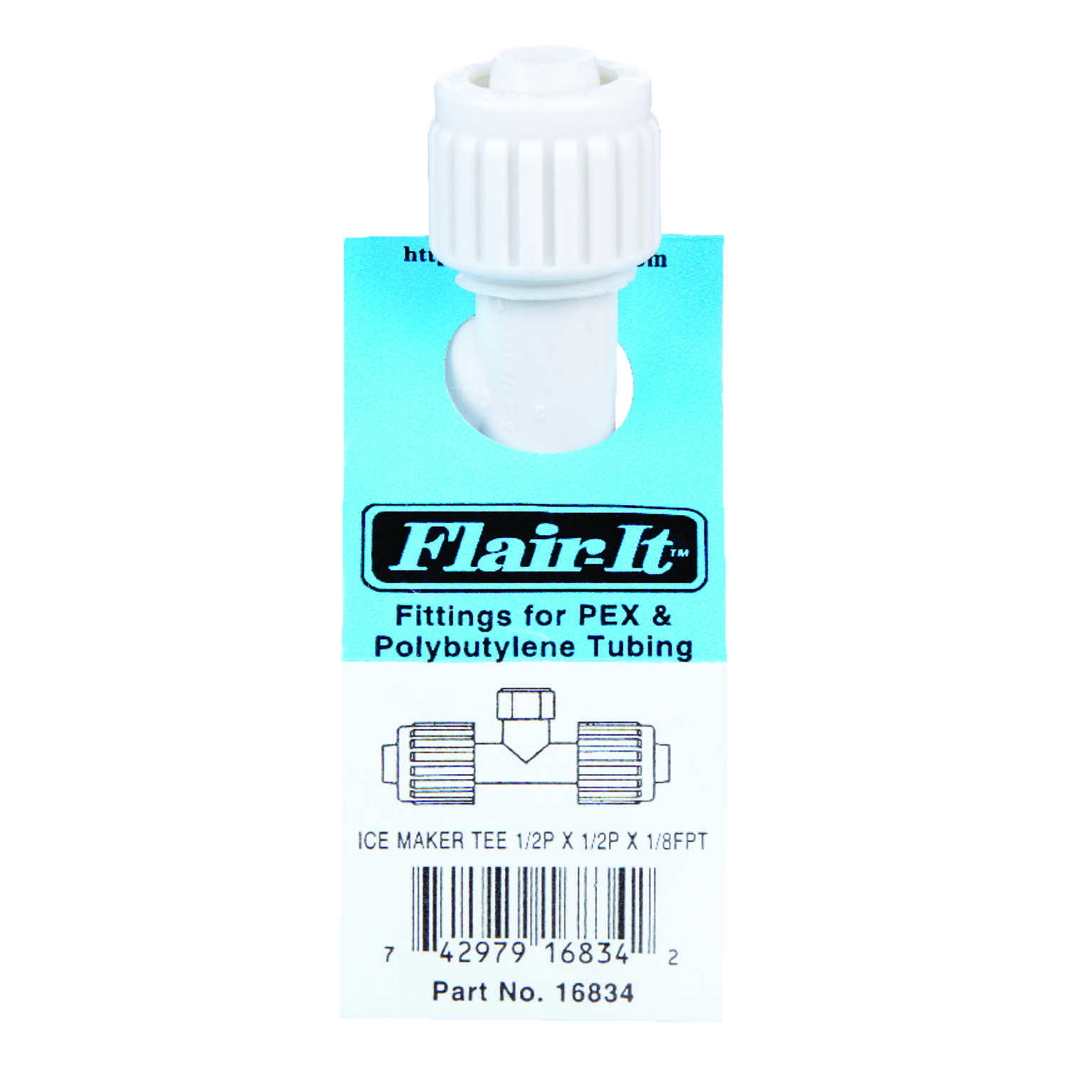 Flair-It  PEX  Tee Connector  1/2 in. Dia. x 1/2 in. Dia. White  1 pk