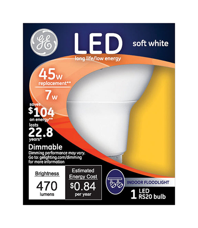 GE Lighting  7 watts R20  LED Bulb  470 lumens Soft White  45 Watt Equivalence Floodlight
