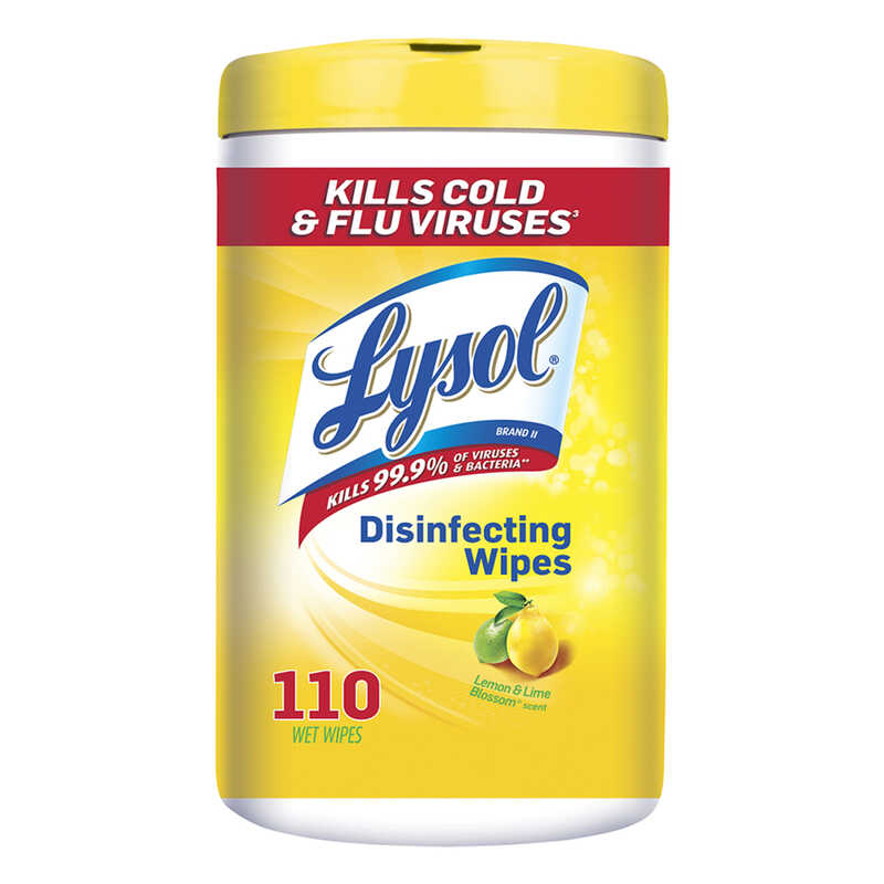 Lysol  Lemon & Lime Blossom Scent Anitbacterial Disinfectant  110 pk Wipes