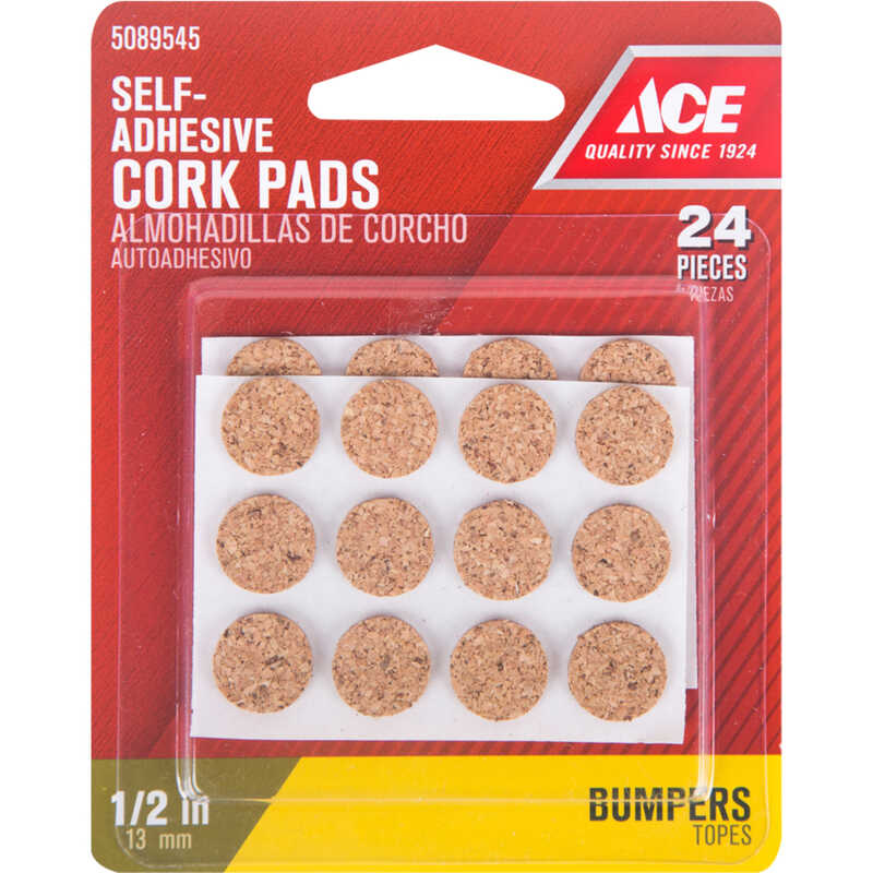 Ace  Cork  Bumper Pads  Brown  Round  1/2 in. W 24 pk Self Adhesive