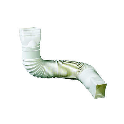 Amerimax Flex-A-Spout 4.5 in. H x 4.5 in. W x 55 in. L White Vinyl Downspout Extension